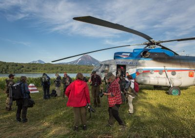 Just arrived by helicopter by Kuril Lake, Kamchatka