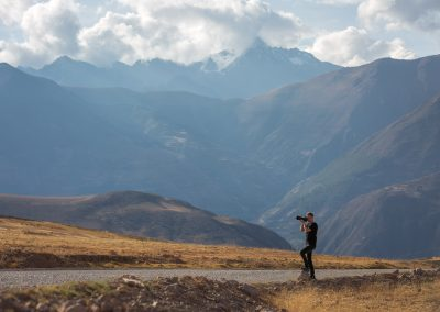 Photographing during a pitstop in the Andes